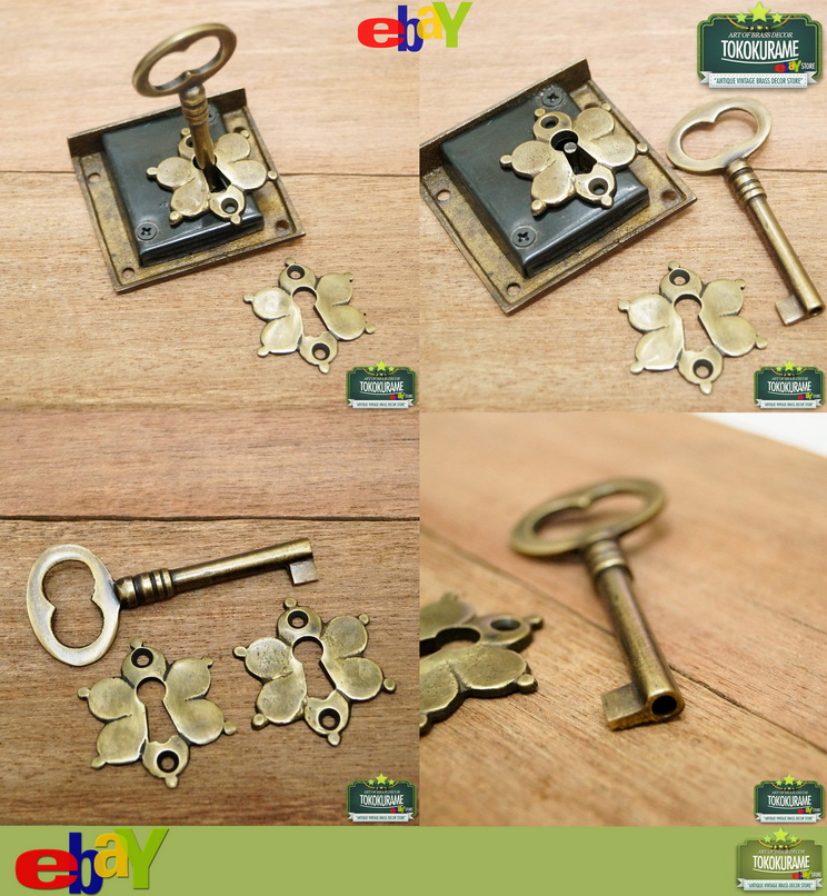 Antique vintage brass key lock and skeleton key mini for Lock and key decor