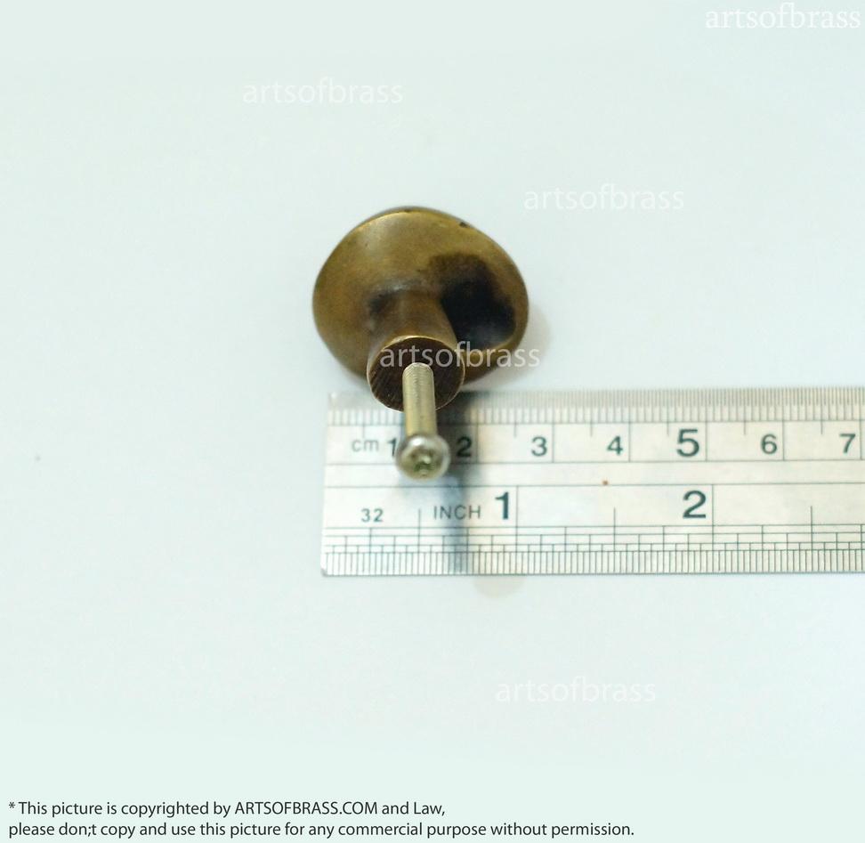 161 lot of 4 pcs vintage retro shell knob mo solid brass cab