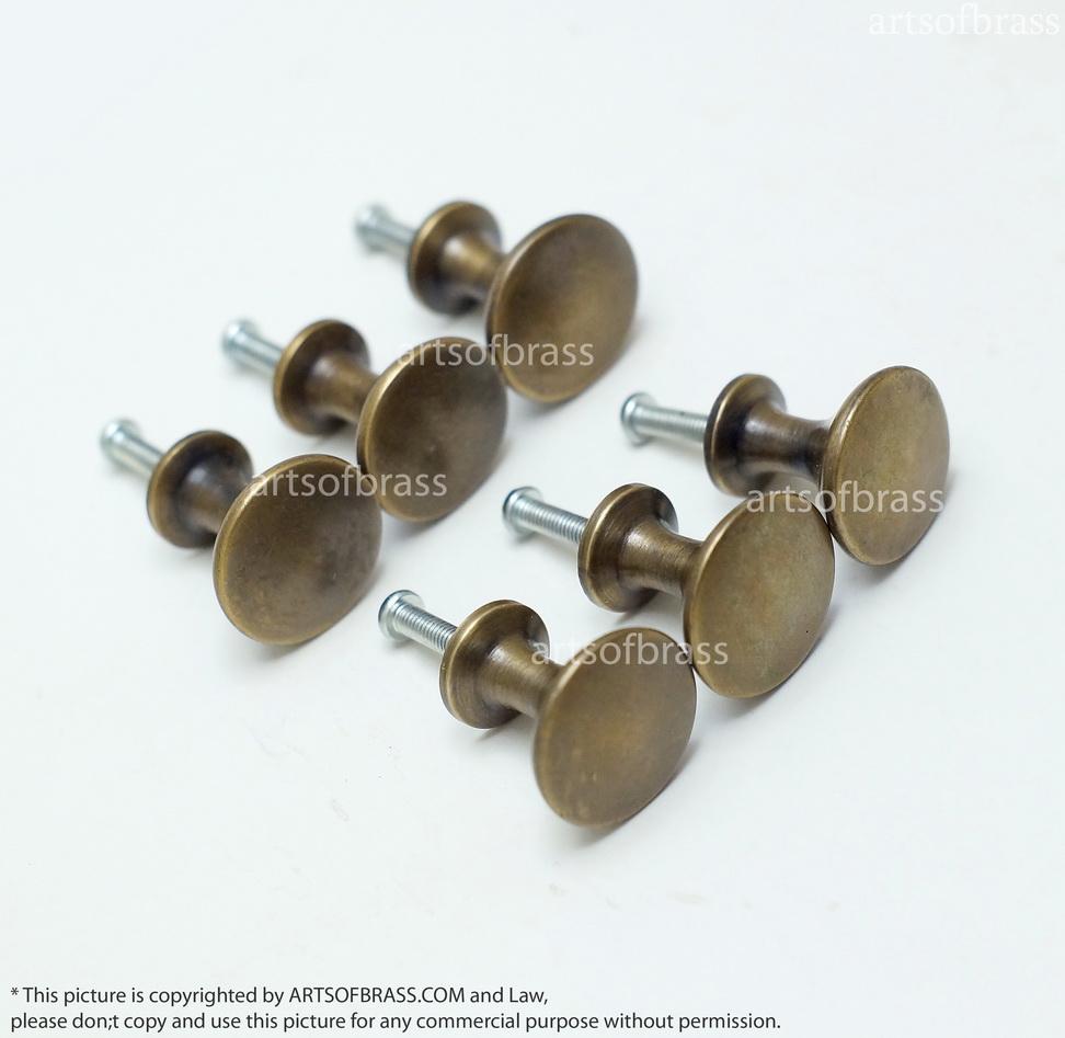 Attrayant 0.94u2033 Lot Of 6 Pcs Vintage Brass Thumbtack Round Knobs Cabinet ...