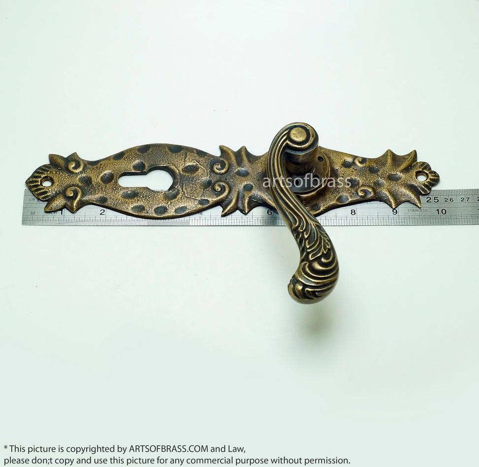 Set vintage steampunk deadbolt entry door handles - Exterior door handles and deadbolts ...