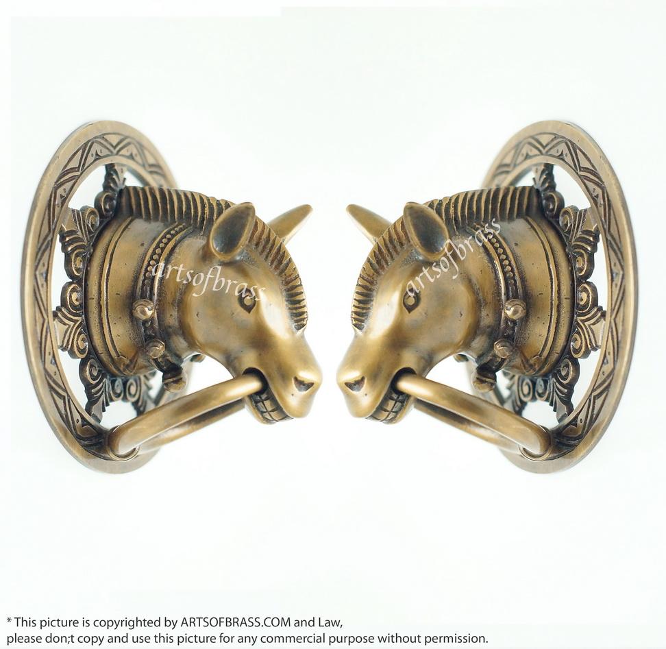 Pair Vintage Stallion HORSE Head Gate Handle Door Brass ... & Pair Vintage Stallion HORSE Head Gate Handle Door Brass Handle Pulls
