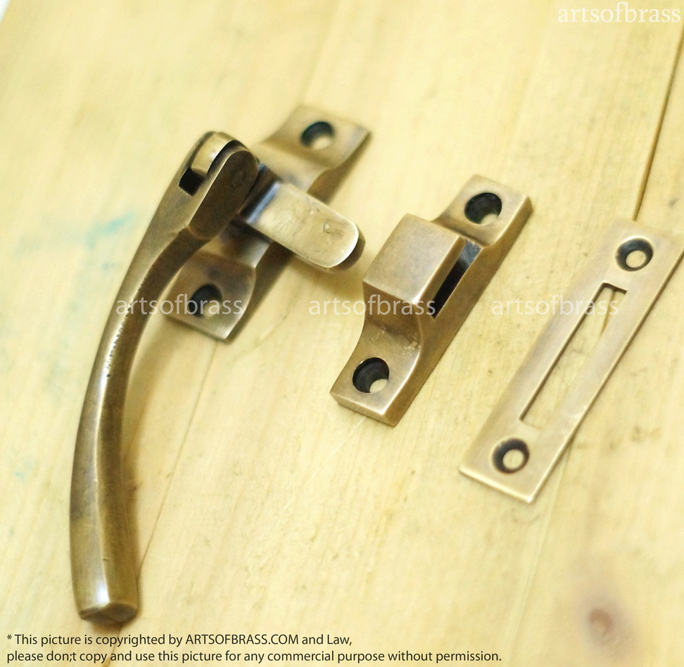 Brass Gate Latch : Quot vintage solid brass door latch catch lock gate