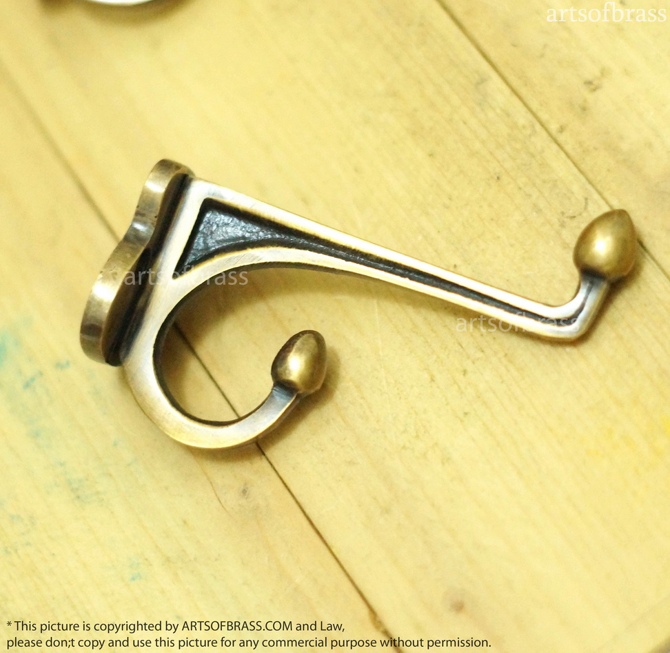 4 pcs vintage brass wall hooks art deco frame of for Artistic coat hooks
