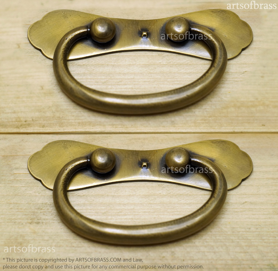 4 09 Quot 2 Pcs Vintage Retro Solid Brass Bail Pulls For