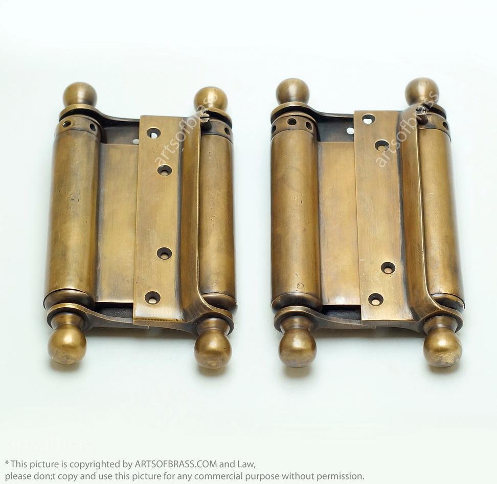 Quot vintage brass swing door hinges double action
