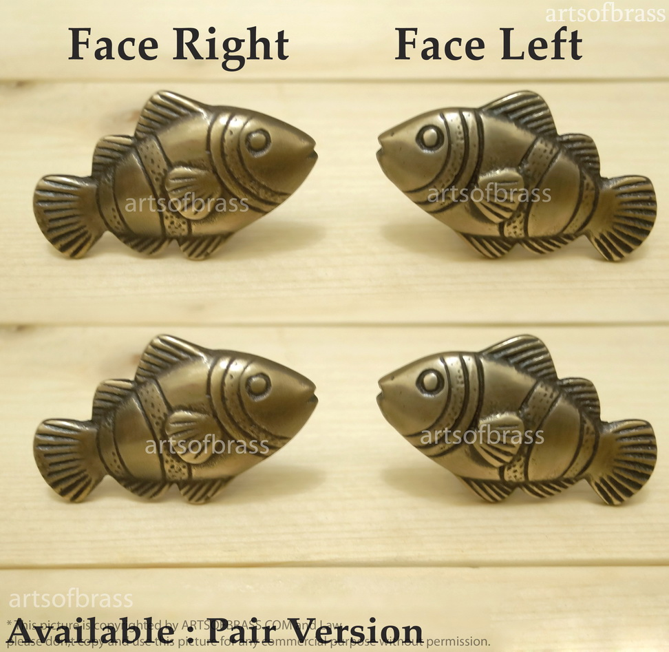 Charmant Lot Of 2 Pairs Vintage Brass CROWN FISH Cabinet Knobs ...