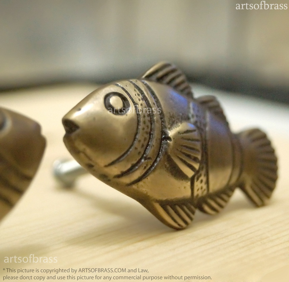 Lot Of 2 Pairs Vintage Brass CROWN FISH Cabinet Knobs ...