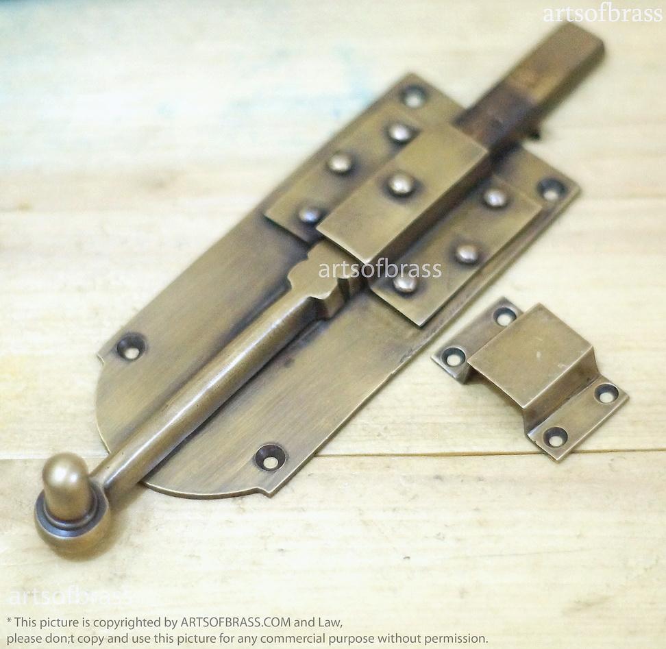 Brass Gate Latch : Set vintage brass door latch slot antique