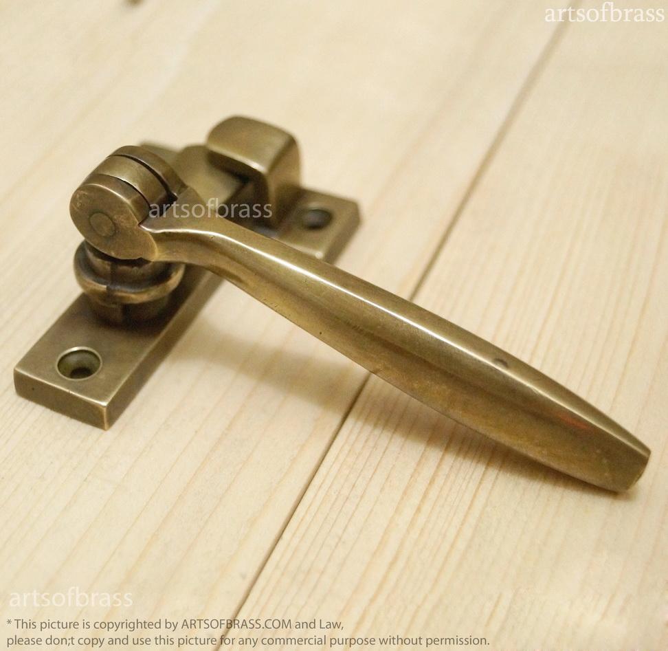 Brass Gate Latch : Vintage solid brass door latch lock handle safe fast gate