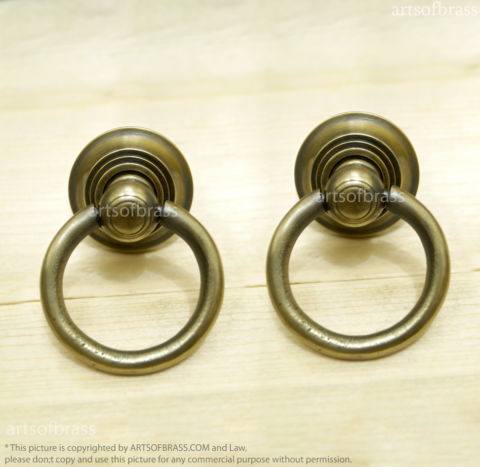 lot of 2 pcs vintage brass round drawer pulls antique cabinet brass knob