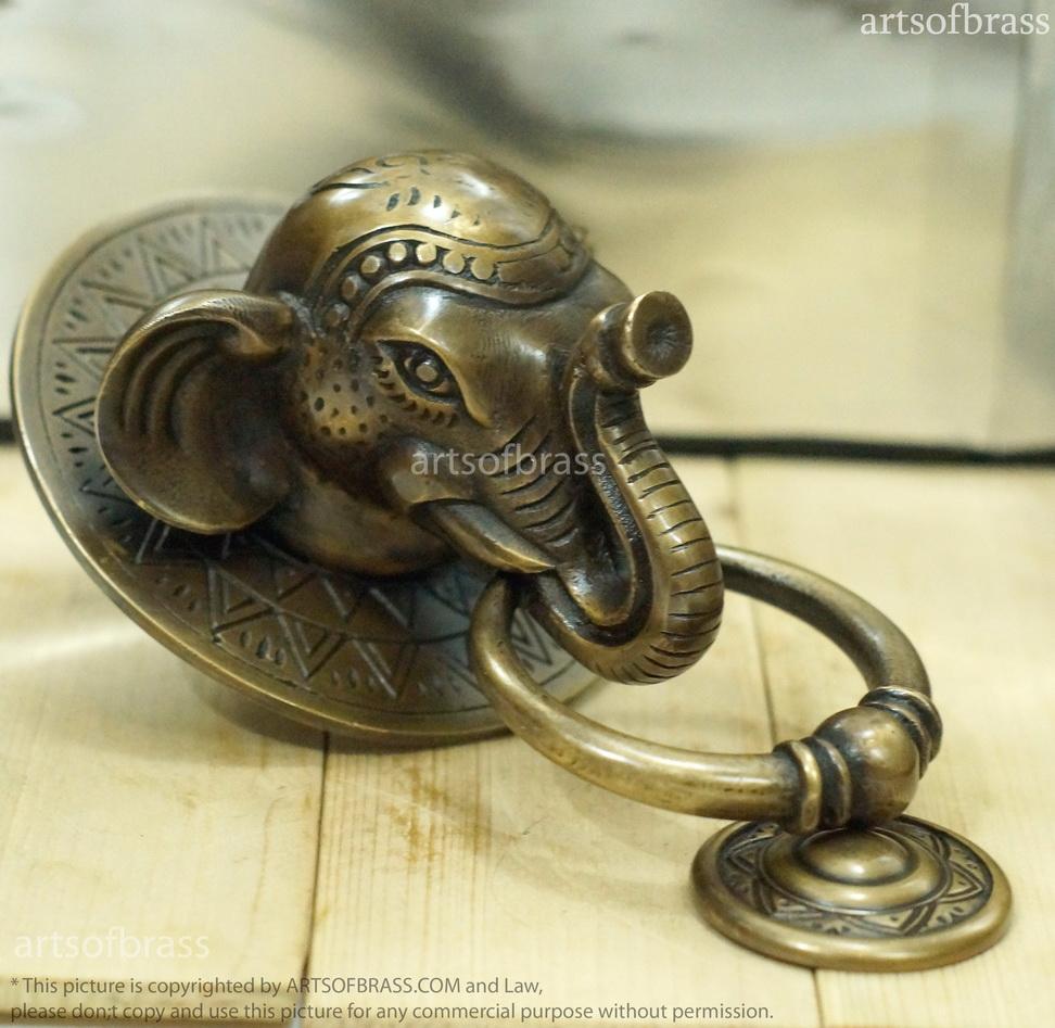 Vintage Large Thai Elephant Door Knocker Brass Front Door