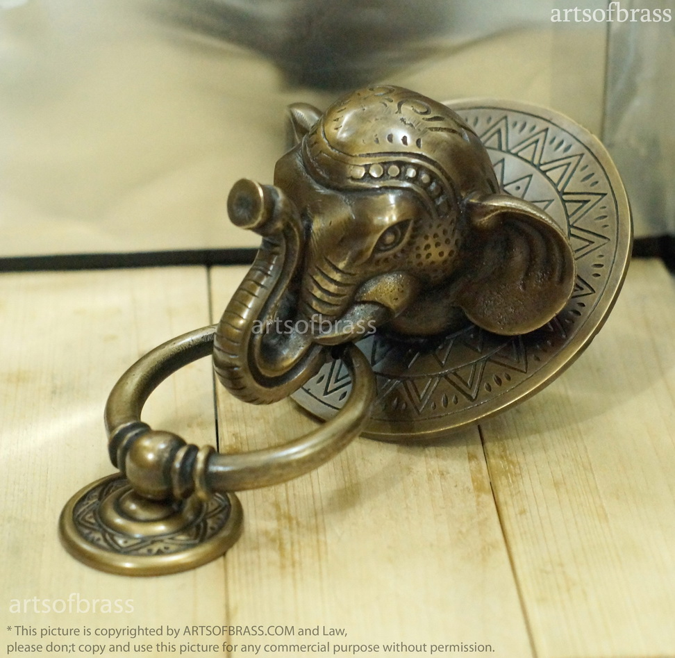 Vintage large thai elephant door knocker brass front door knocker - Brass elephant door knocker ...